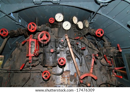 engine room of the puffer train - stock photo