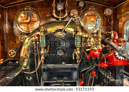 Engine room on the steam train - stock photo