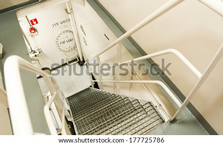 Engine Room Spaces on a modern vessel - engineering interior  - stock photo