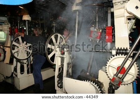 Engine Room, 1912 SteamShip - stock photo
