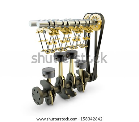 Engine with pistons, valves, crankshaft and camshaft isolated on white background