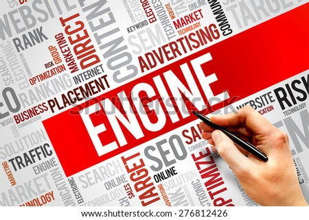 ENGINE word cloud, business concept - stock photo