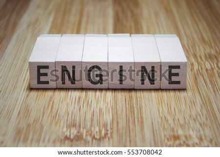 Engine Word In Wooden Cube Stamp