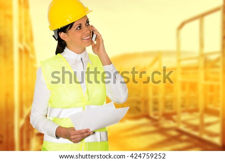 Engineer and construction building in unusual colors at sunset. - stock photo