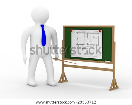 engineer at a board with the plan. Isolated 3D image - stock photo