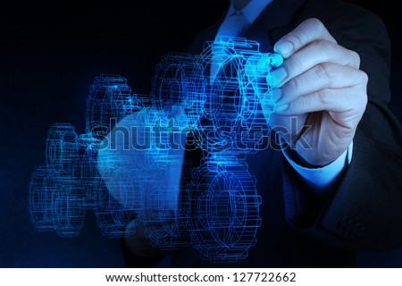 engineer businessman hand draws gear to success as concept - stock photo