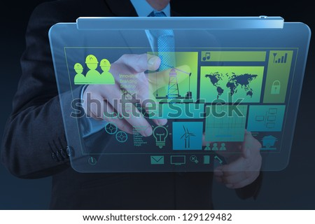 engineer businessman hand working on modern technology as concept - stock photo