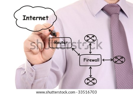 Engineer drawing a black computer network  diagram - stock photo