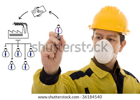 Engineer drawing a factory process(selective focus) - stock photo