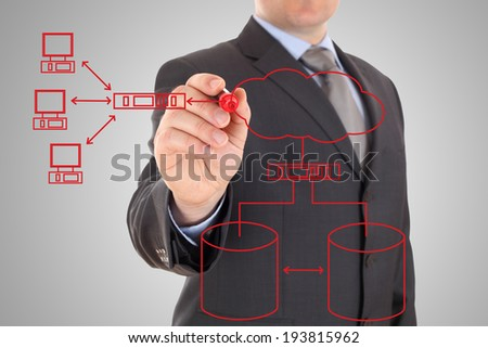 Engineer drawing an computer network diagram - stock photo