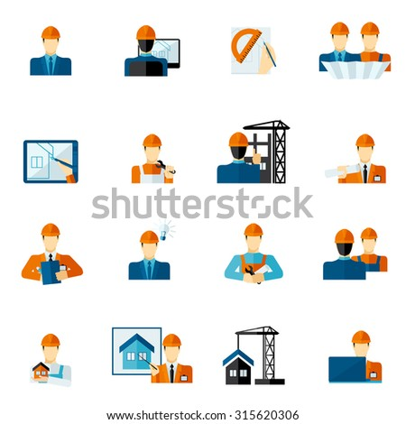 Engineer factory manufacturing service worker icons flat set isolated  illustration - stock photo