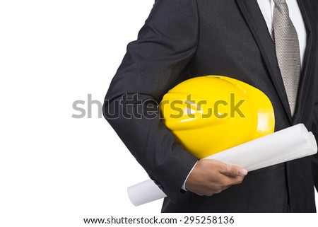 engineer for workers security white background - stock photo