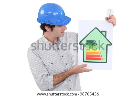 Engineer holding an energy efficiency rating sign