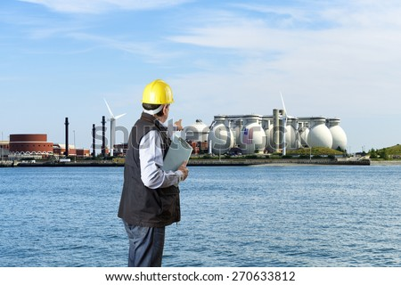 Engineer in Refinery - stock photo