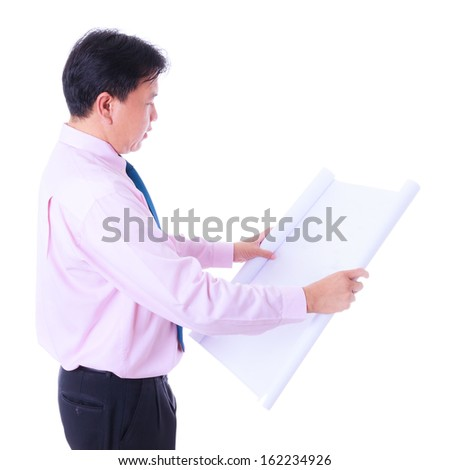 engineer looking construction diagram isolated - stock photo