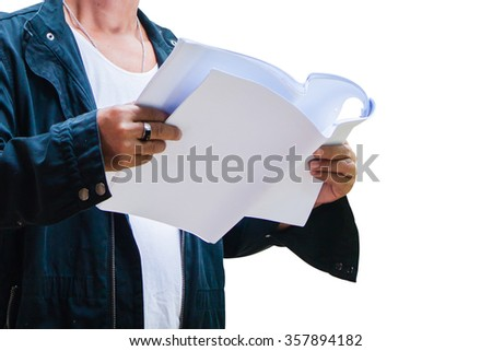 engineer of contractor hold construction drawing A3 paper in hand with isolated background - stock photo