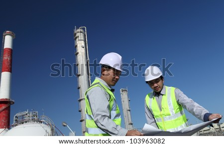 engineer of oil refinery - stock photo