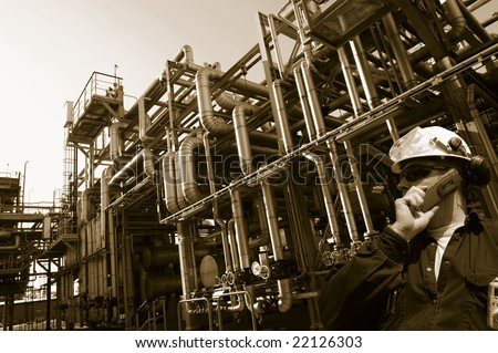 engineer, oil and gas industrial concept. brown toning idea. - stock photo