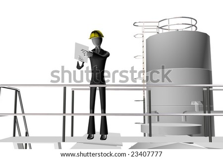 engineer on industrial site 3d illustration isolated on white background - stock photo