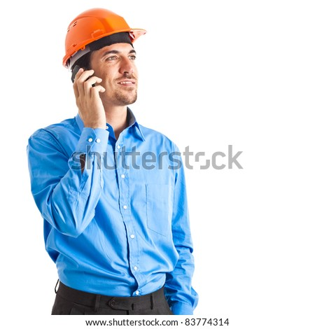 Engineer on the phone isolated on white - stock photo