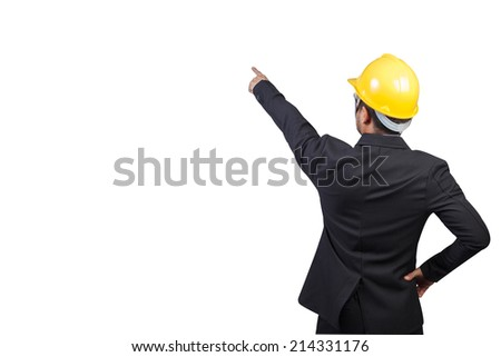 engineer pointing something isolated on white background with clipping path