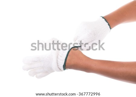 Engineer's wear gloves to work Isolated white background