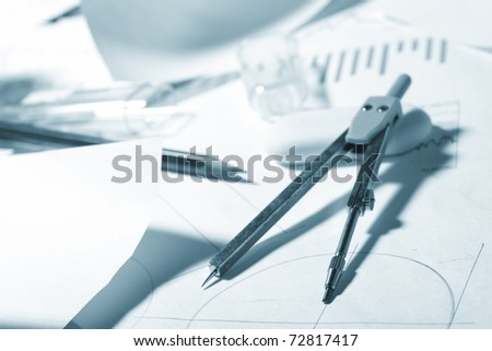 engineer's work table - stock photo