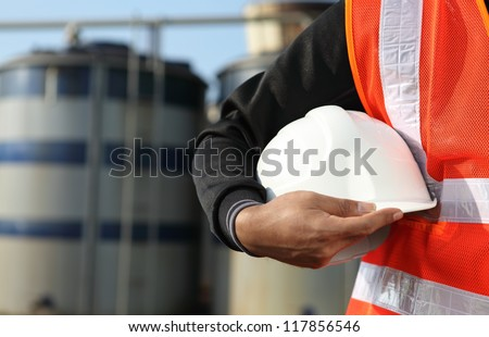 engineer standing on location site - stock photo