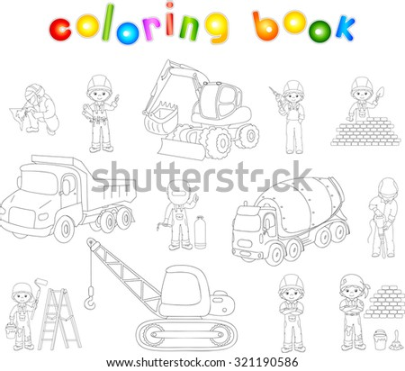 Engineer, technician, painter, welder and labor worker working on a construction. Cartoon bulldozer, concrete mixer, truck, excavator and tractor set. Coloring book for kids - stock photo