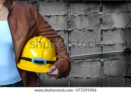 engineer woman contractor with construction background