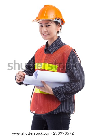 Engineer women on a white background. - stock photo