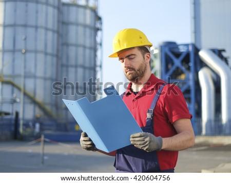 Engineer worker with helmet - stock photo