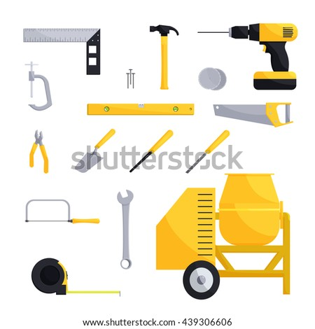 Engineering and construction icon set - stock photo