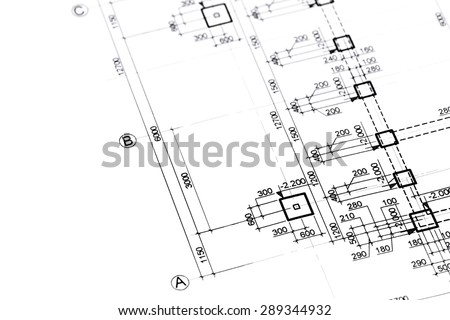 engineering blueprints, construction plan, part of architectural project - stock photo
