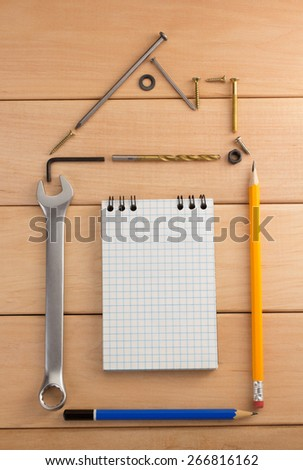 engineering concept on wooden background - stock photo