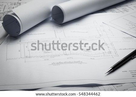 engineering diagram blueprint paper drafting project sketch architectural,selective focus.