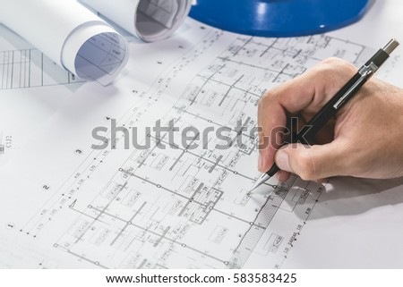 Engineering diagram blueprint paper drafting project stock photo engineering diagram blueprint paper drafting project sketch architecturalselective focus malvernweather Images