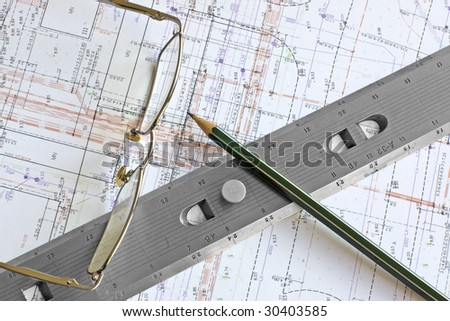 Engineering digital color blueprint pencil glasses stock photo engineering digital color blueprint with pencil glasses and steel scale ruler malvernweather Gallery