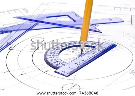 Engineering drawing equipment - stock photo