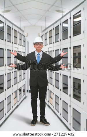 Engineering in server room - stock photo