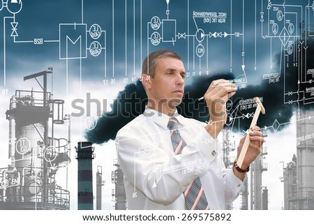 Engineering industrial technology,Ecological designing - stock photo
