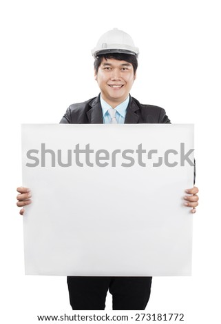 engineering man wearing white safety helmet holding empty banner to presenting isolated white background - stock photo