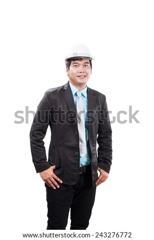 engineering man wearing white safety helmet standing and smiling to camera isolated white background - stock photo