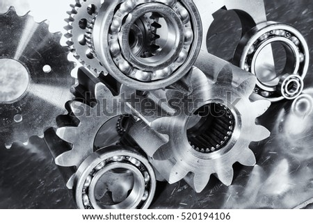 engineering parts, gear and ball-bearings in steel and titanium