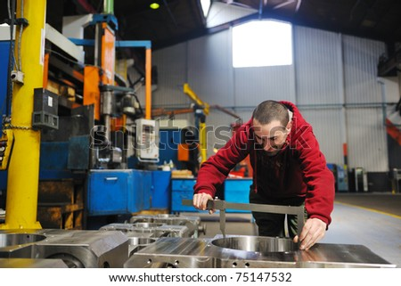engineering people manofacturing industry with big modern computer mashines i company  hall - stock photo