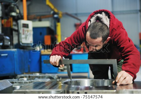 engineering people manufacturing industry with big modern computer machines i company  hall - stock photo