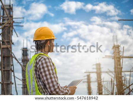 Engineering using digital tablet in the construction  modern technology application