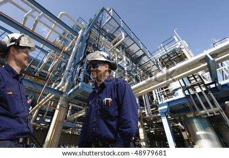 engineers, pipelines and oil and gas industry - stock photo