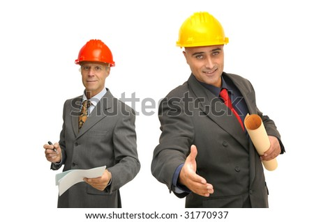 Engineers with contract  isolated against a white background