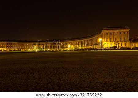 ENGLAND, BATH - 21 APRIL 2015: Bath Royal Crescent by night